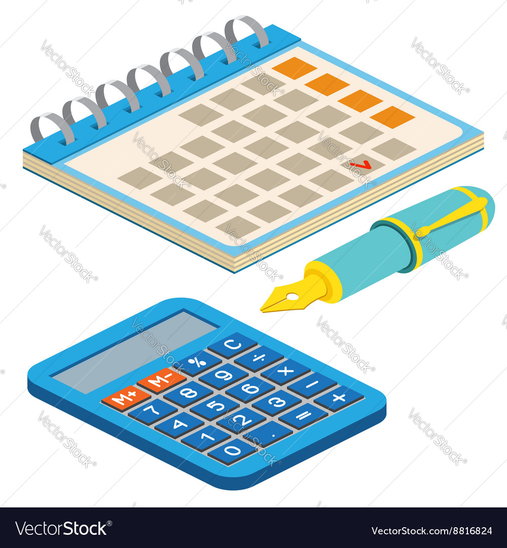 Isometric Fountain Pen Calendar And Calculator On