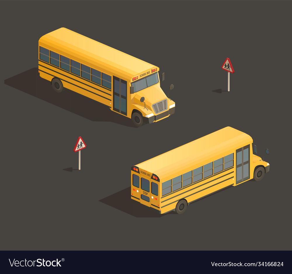 Isometric yellow school bus