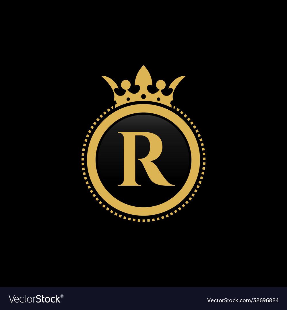Letter r royal crown luxury logo design