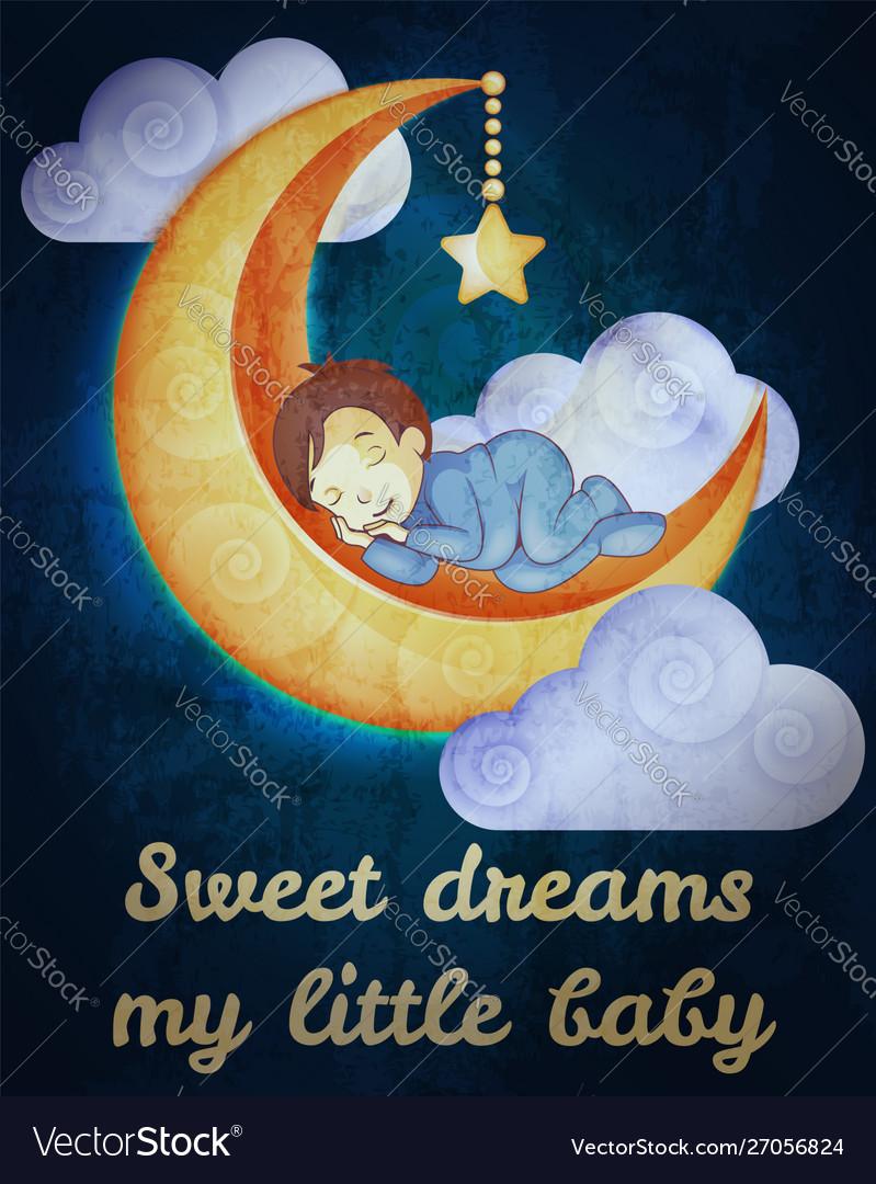 Little boy sleeping on moon card