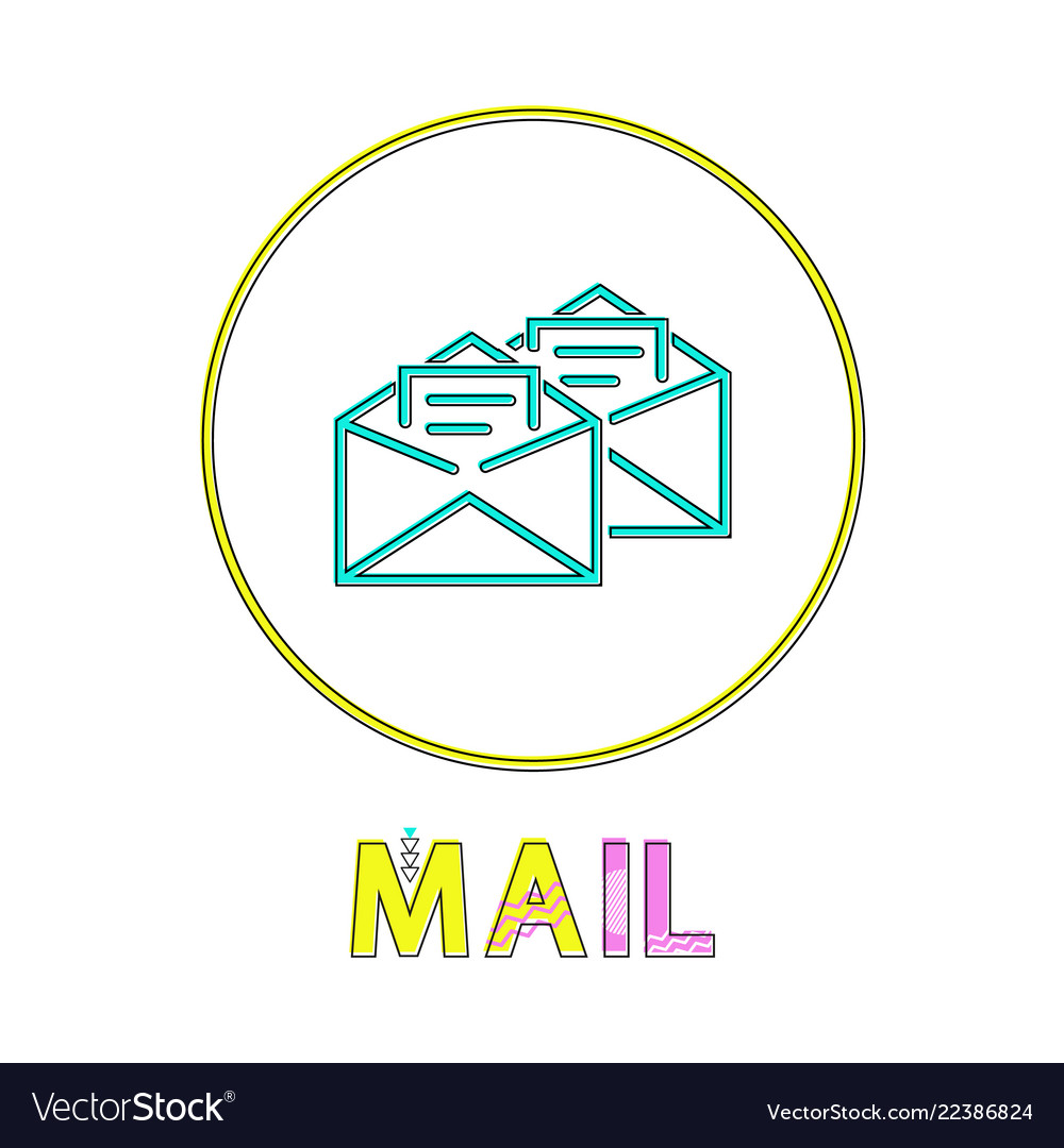 Mail app round linear icon with open envelopes