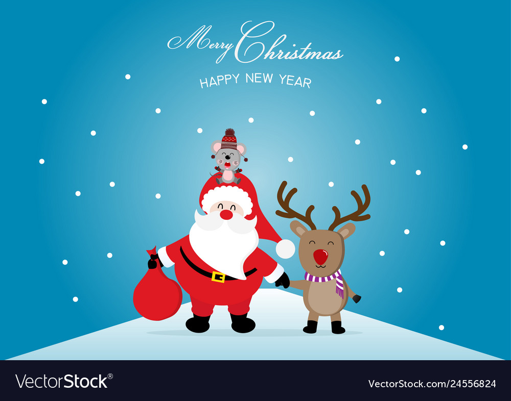 Merry christmas and happy new year with cute