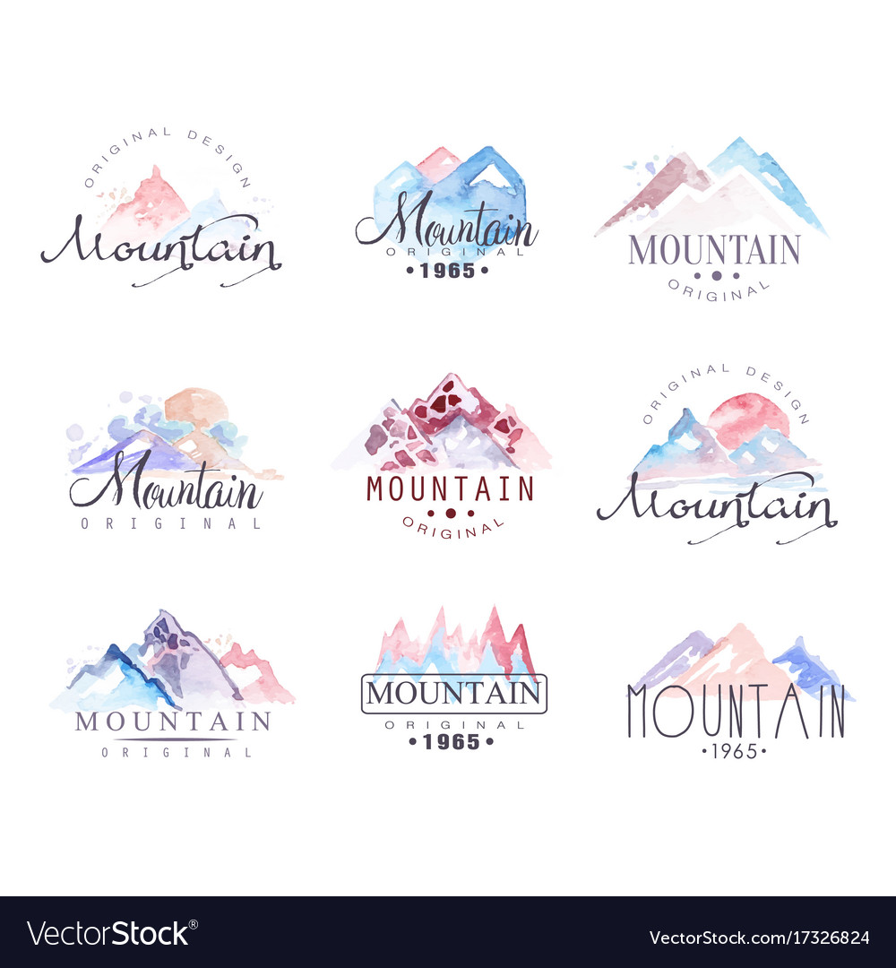 Mountain original logo design watercolor