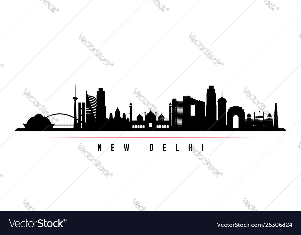 New delhi city skyline horizontal banner