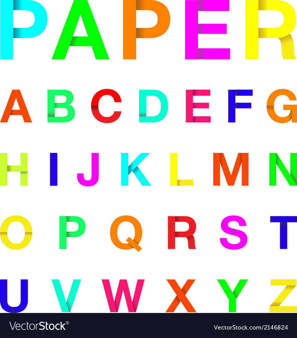 Paper letters colour Royalty Free Vector Image