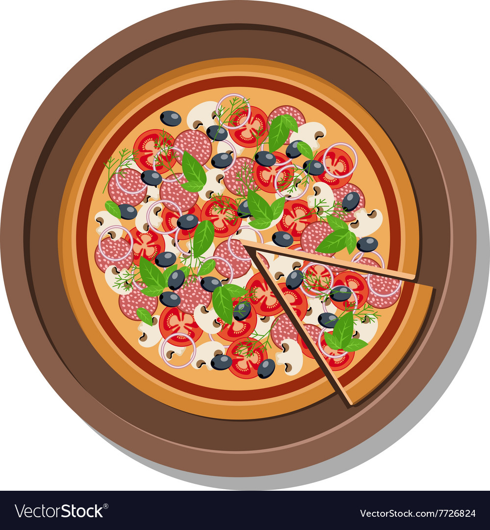 Pizza on a plate Isolated on