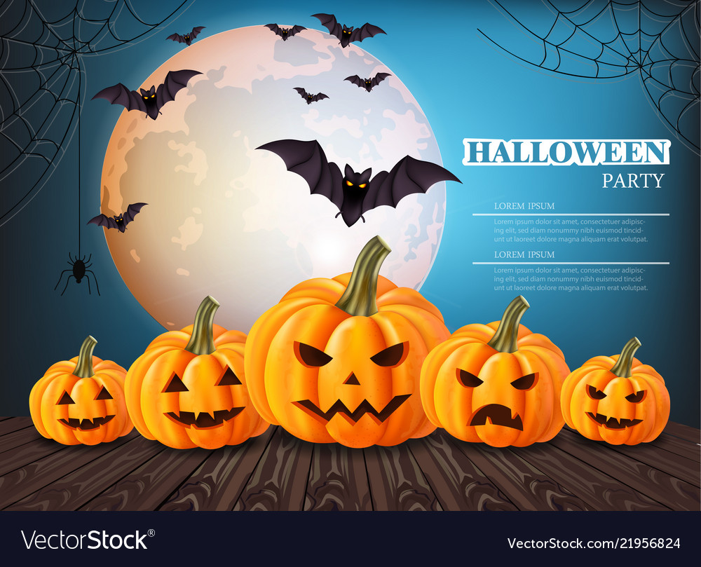 Pumpkins halloween card full moon on