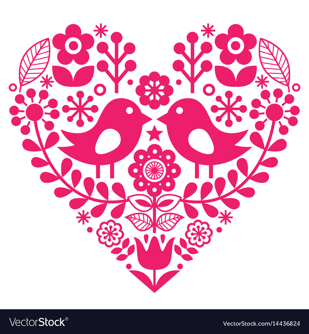 Scandinavian folk pattern with birds and flowers vector image