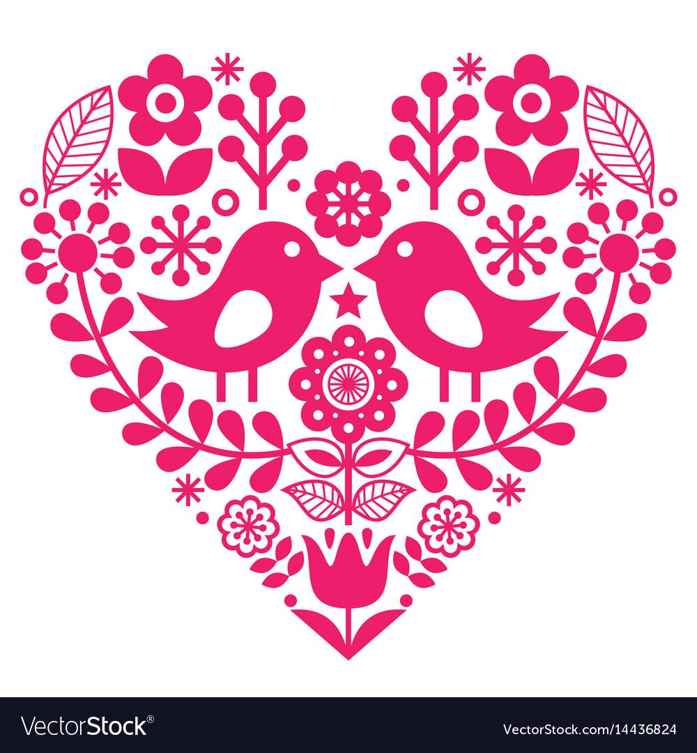 Scandinavian folk pattern with birds and flowers