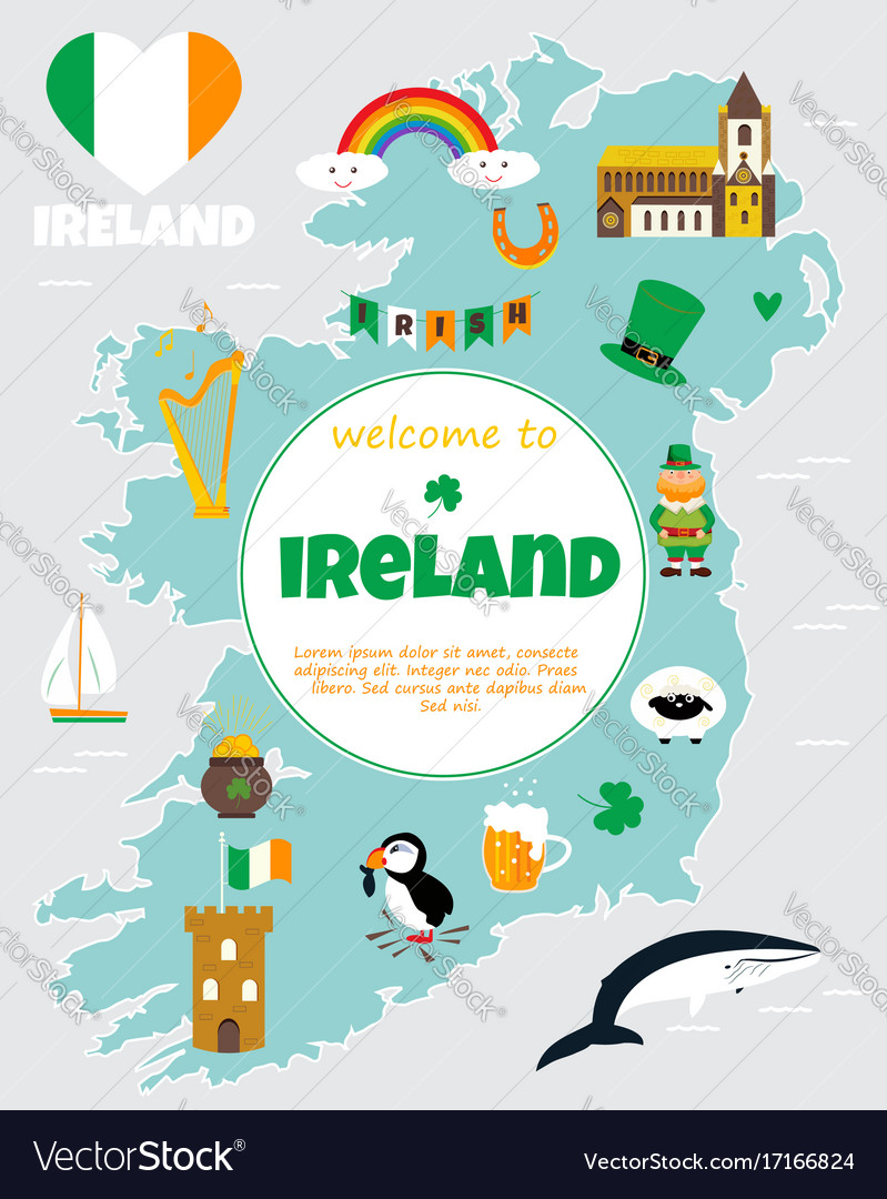 Map Of Ireland Poster.Tourist Map Of Ireland With Landmarks And Symbols Vector Image