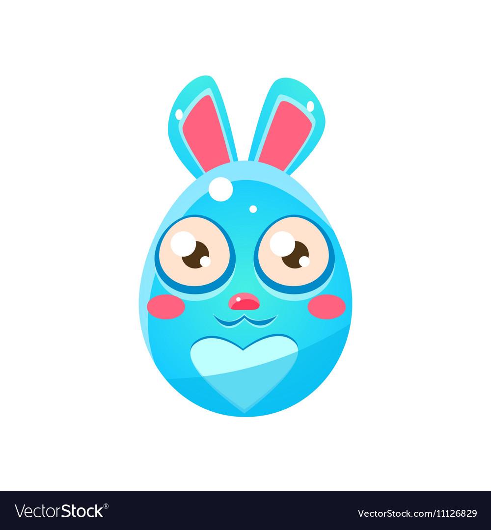 Blue Egg Shaped Easter Bunny
