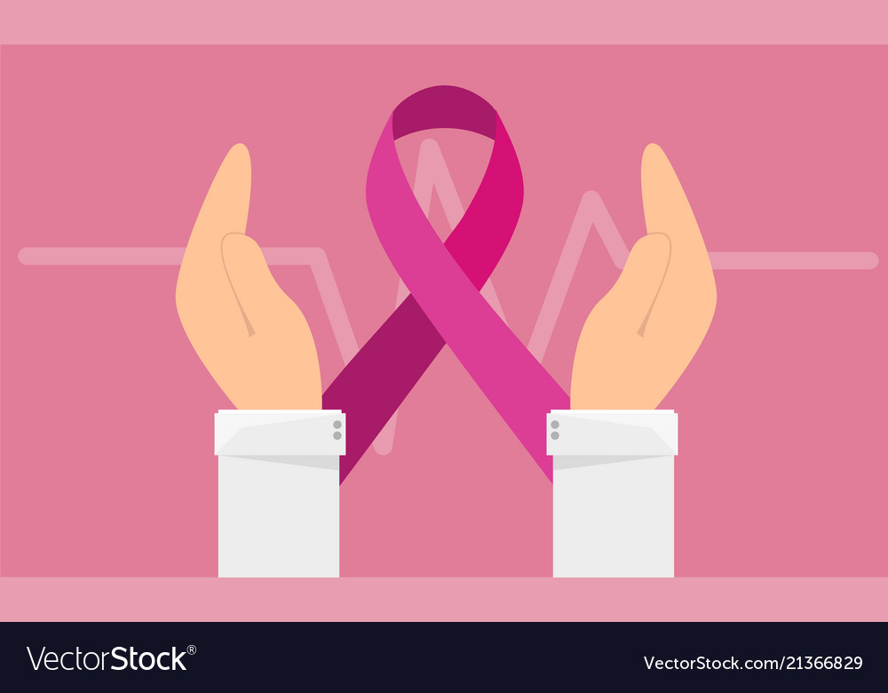 Breast cancer awareness banner - hand hold pink