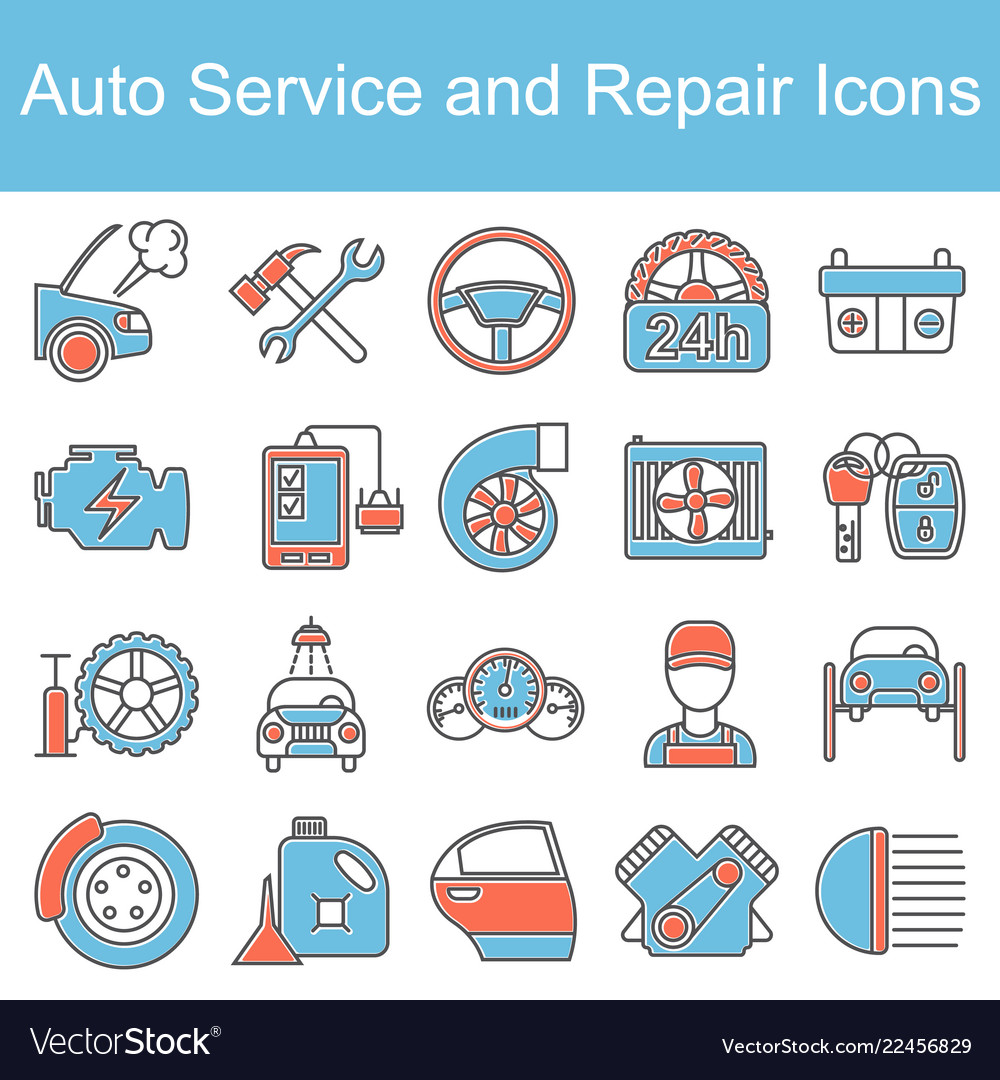Car service maintenance icon set
