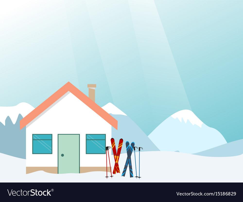 Mountain ski resort landscape ski resort vector image