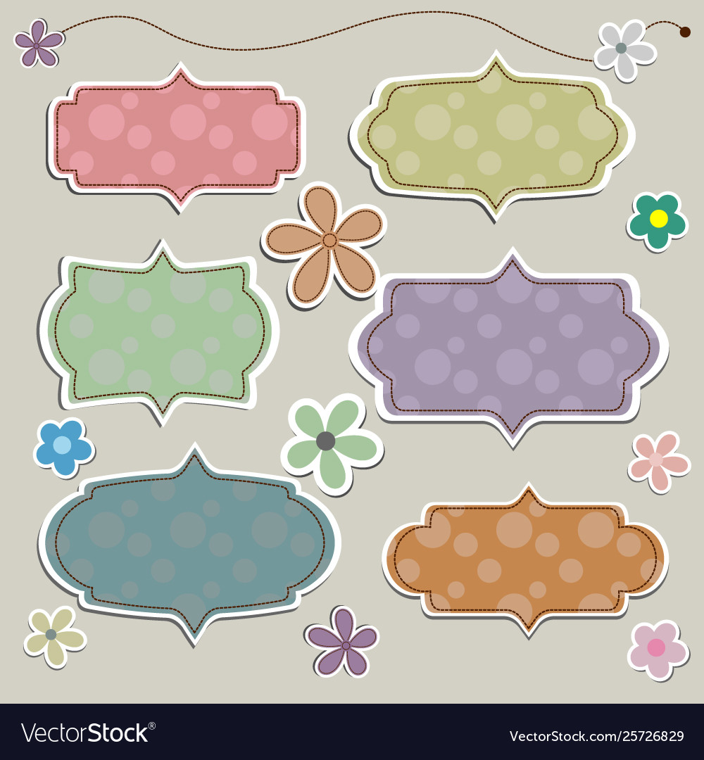 Paper banner in vintage or retro style with flower