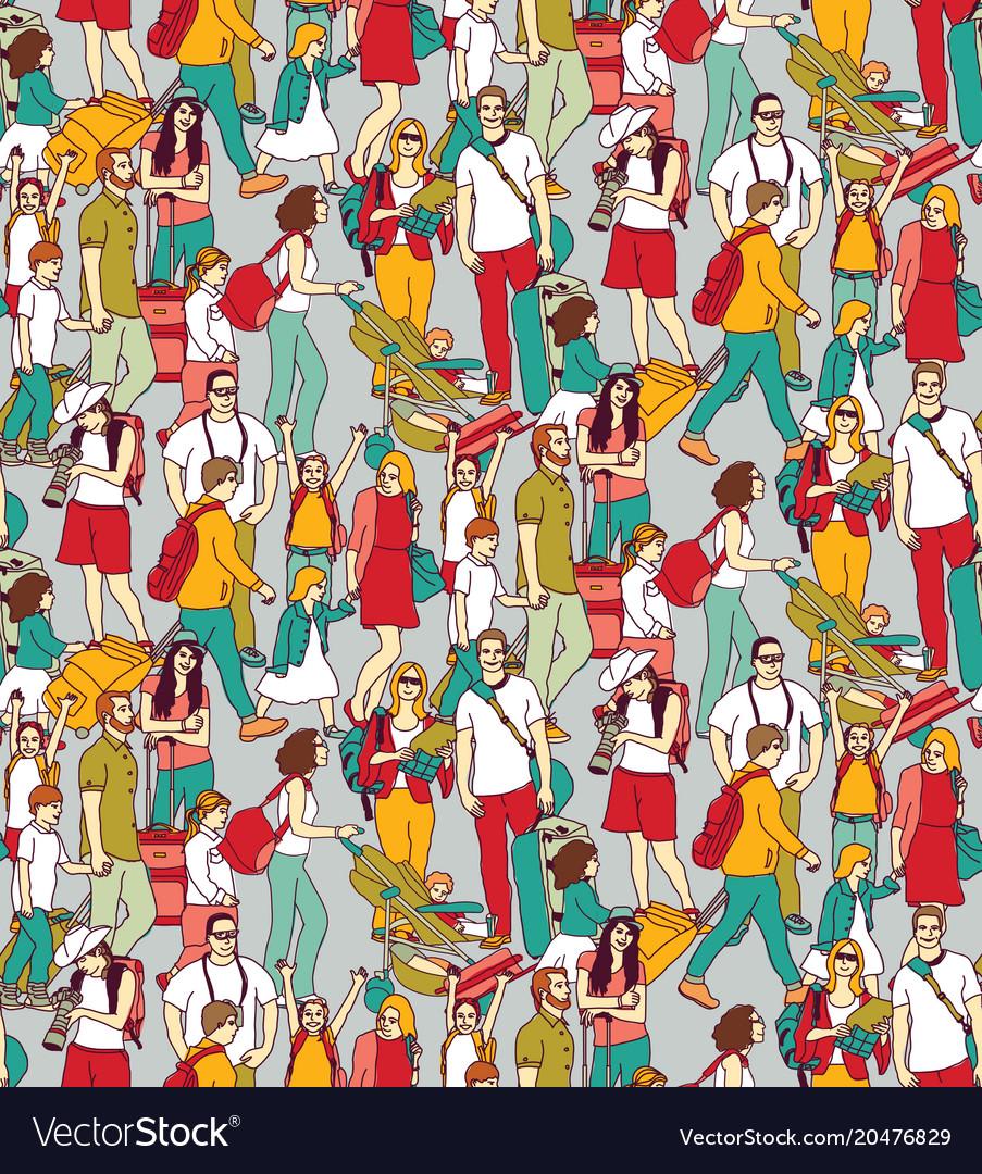 People travel luggage crowd seamless pattern