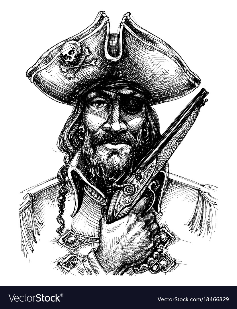 Pirate Portrait Drawing Royalty Free Vector Image