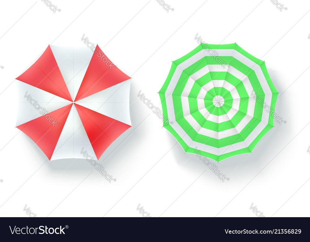 Set of multi colored beach umbrellas top view