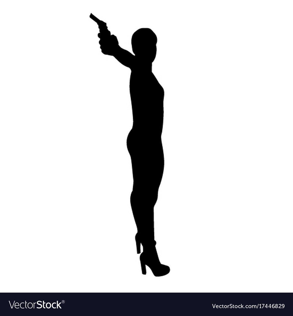 shooting girl silhouette royalty free vector image