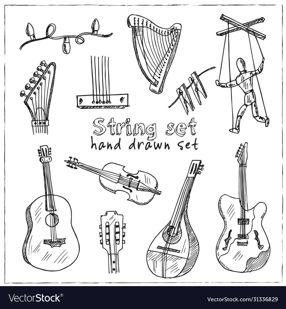 String hand drawn doodle set