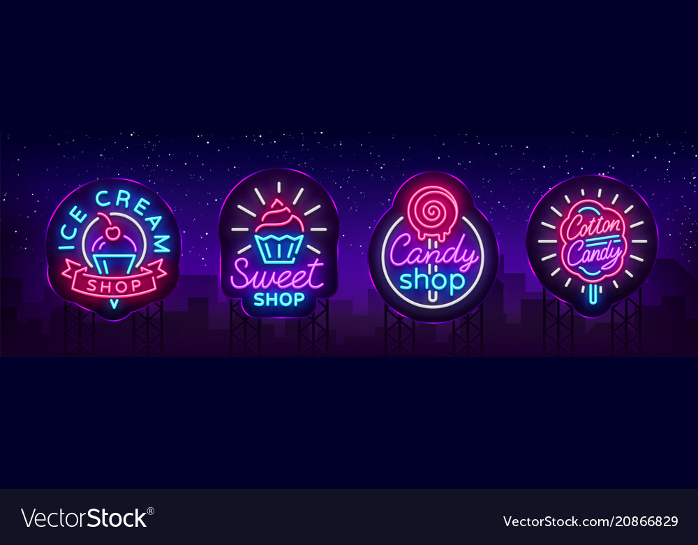 Sweets shop is collection logos of neon style ice