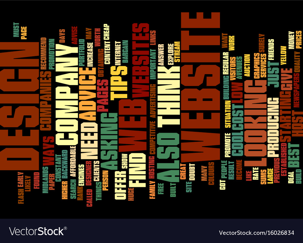Free web design advice text background word cloud vector image