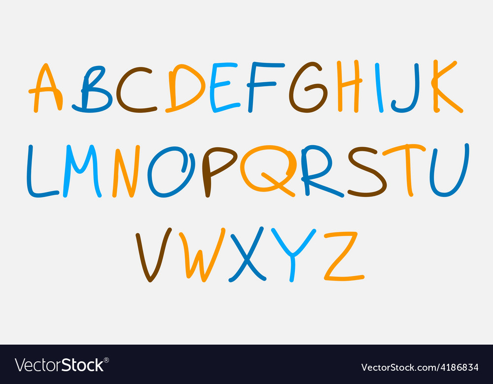 Hand drawn alphabet vector image