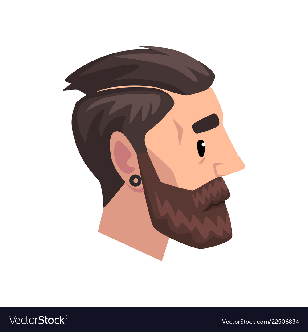 Head of young bearded man with modern haircut