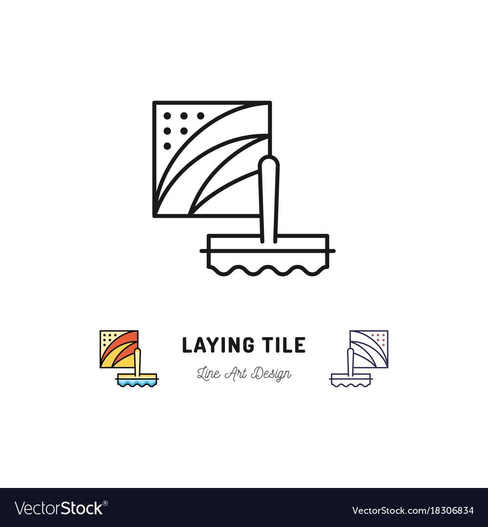 Laying tile icon repair bathroom symbol spatula