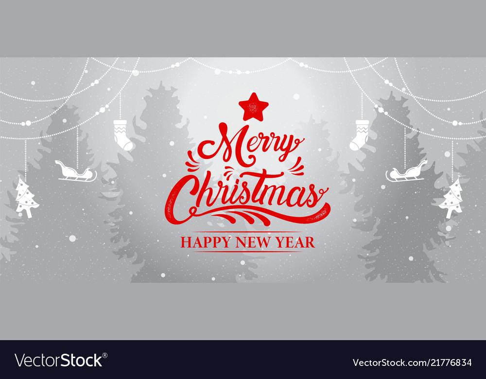 Merry christmas happy new year calligraphy