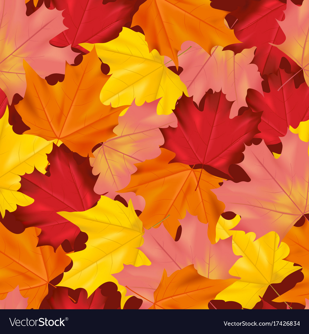 Seamless colorful autumn leaves background pattern