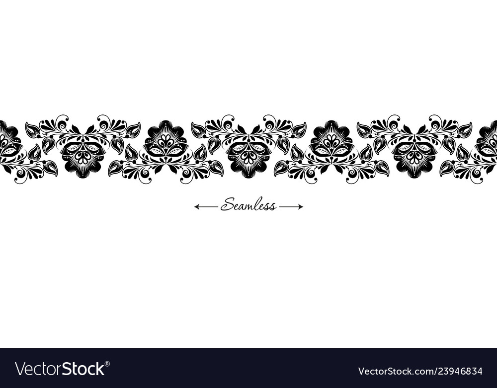 Seamless header with black floral border on