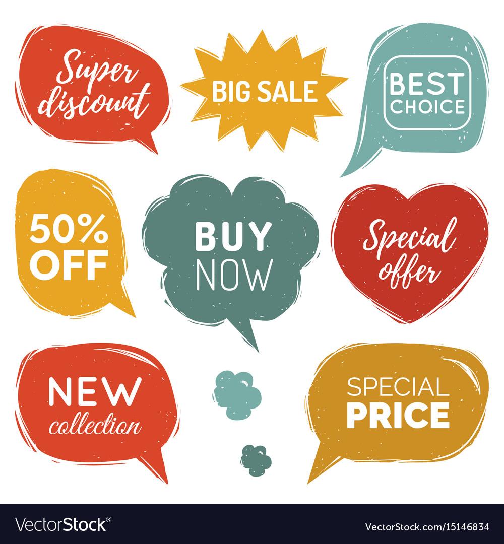 Set of comic speech bubbles sale stickers