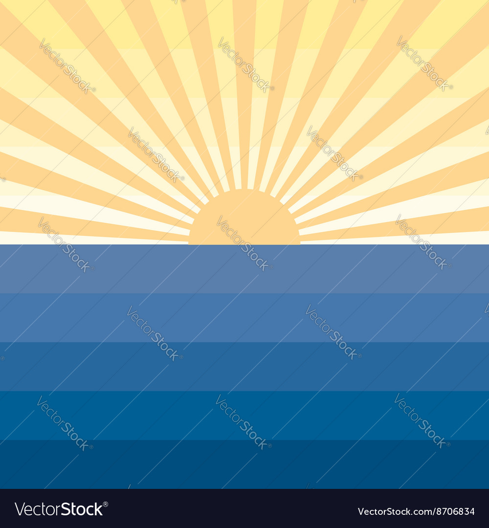 Sun with rays and sea Marine creative background