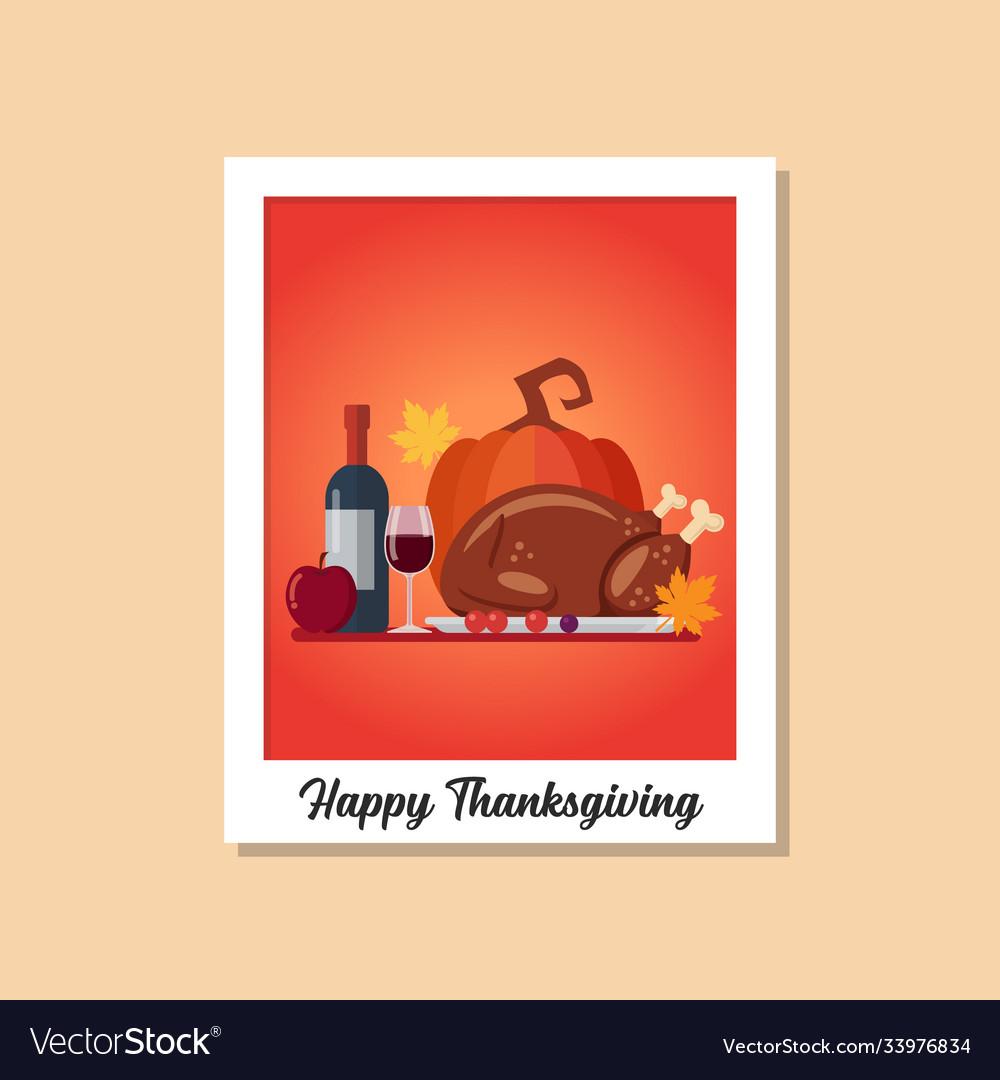 Thanksgiving dinner image on polaroid photo frame