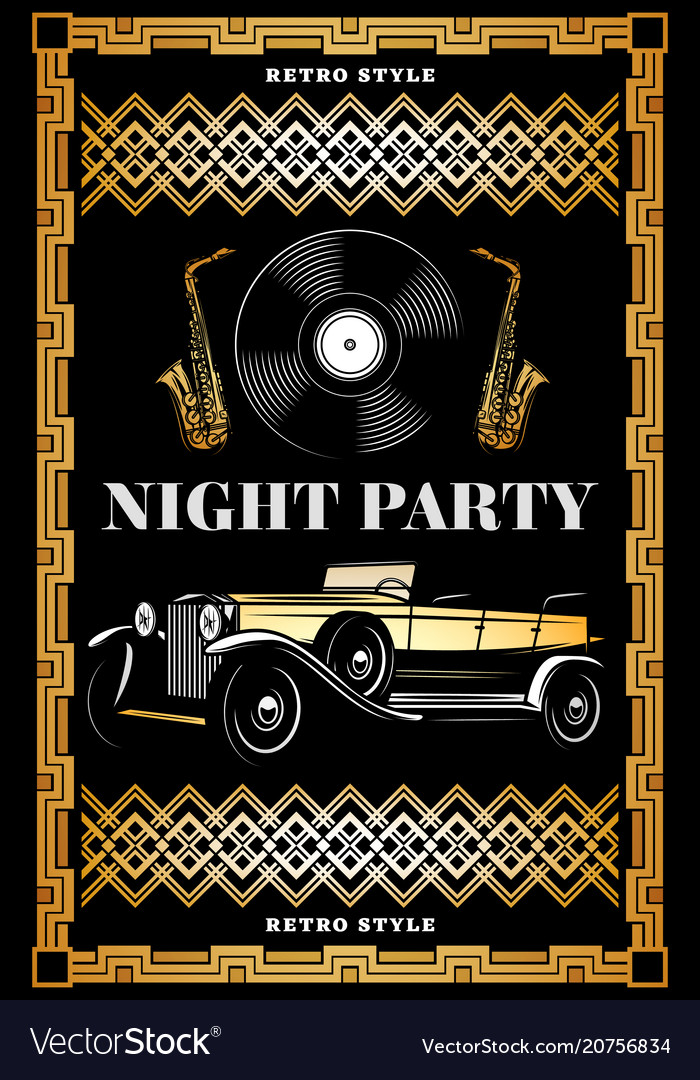 Vintage colored night retro party poster