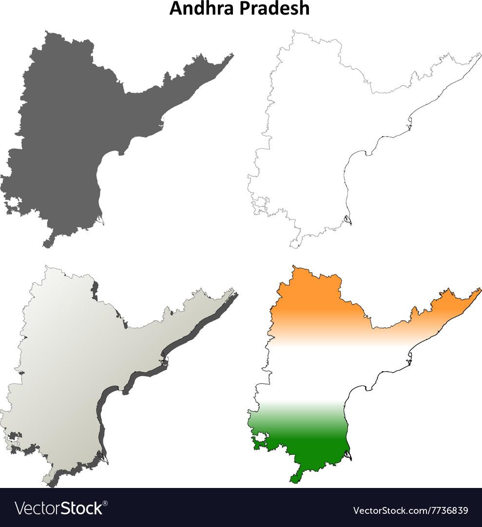 Andhra Pradesh blank outline map set Royalty Free Vector