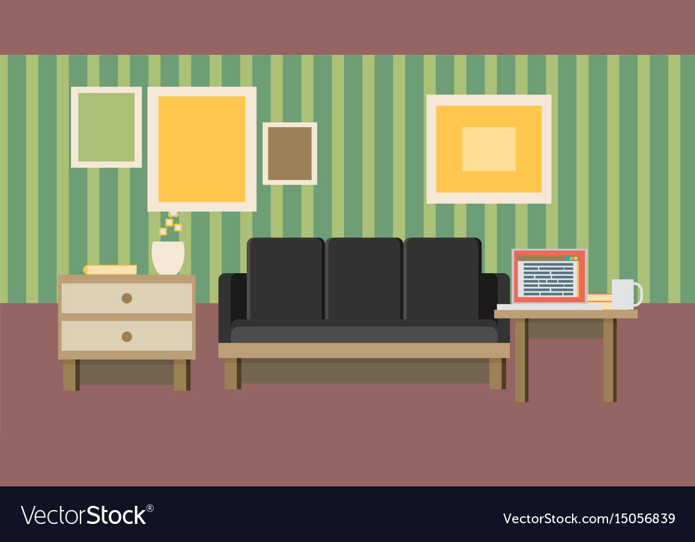 Business interior concept icons of business vector image