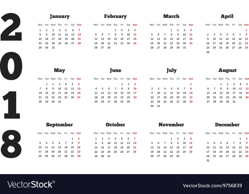 Calendar on 2018 year with week starting from