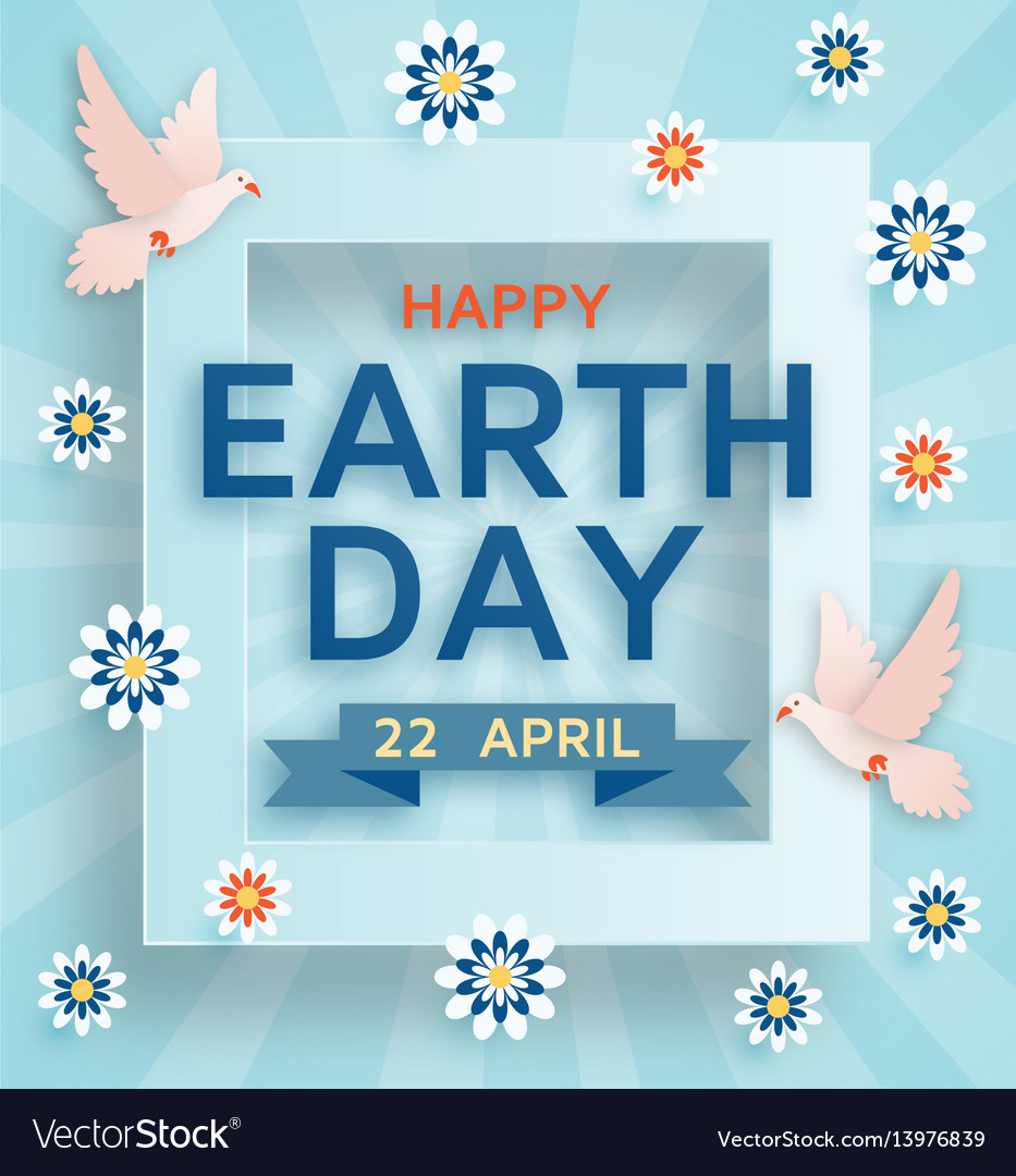Earth Day Cute Background With Doves Royalty Free Vector