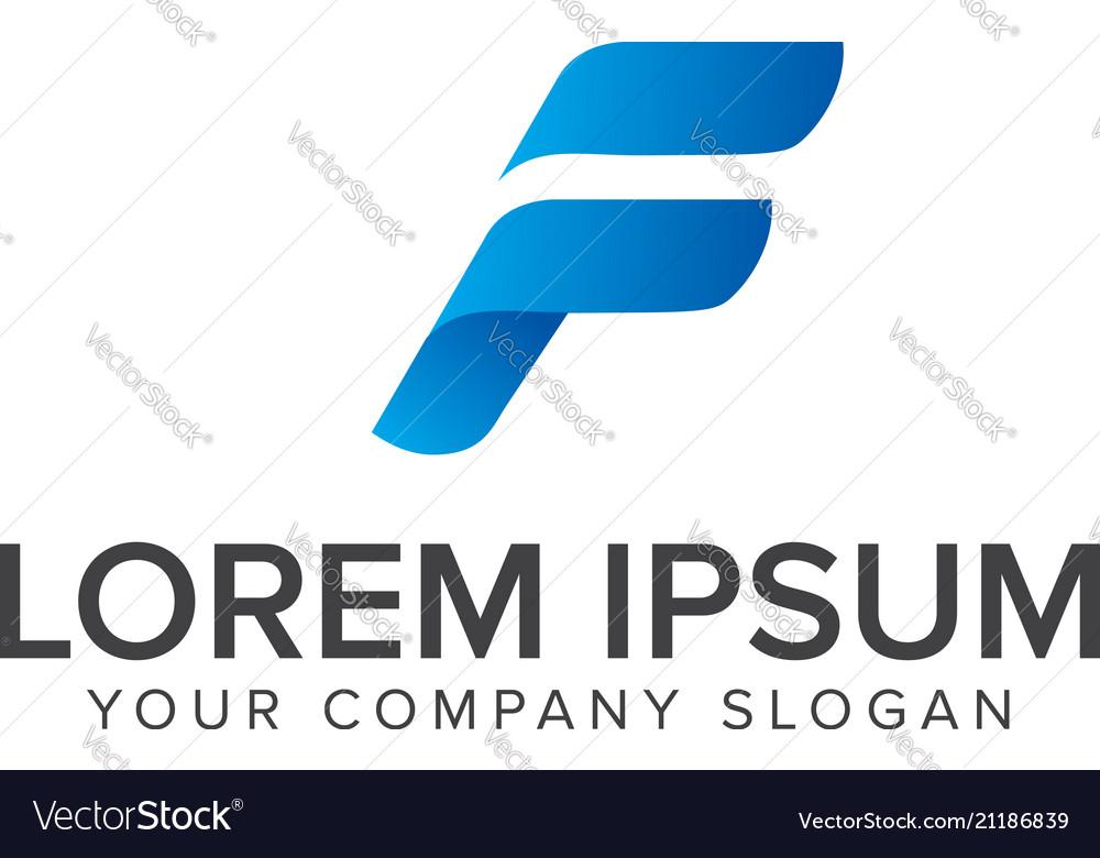 F letter logo abstract design fast sport letter f