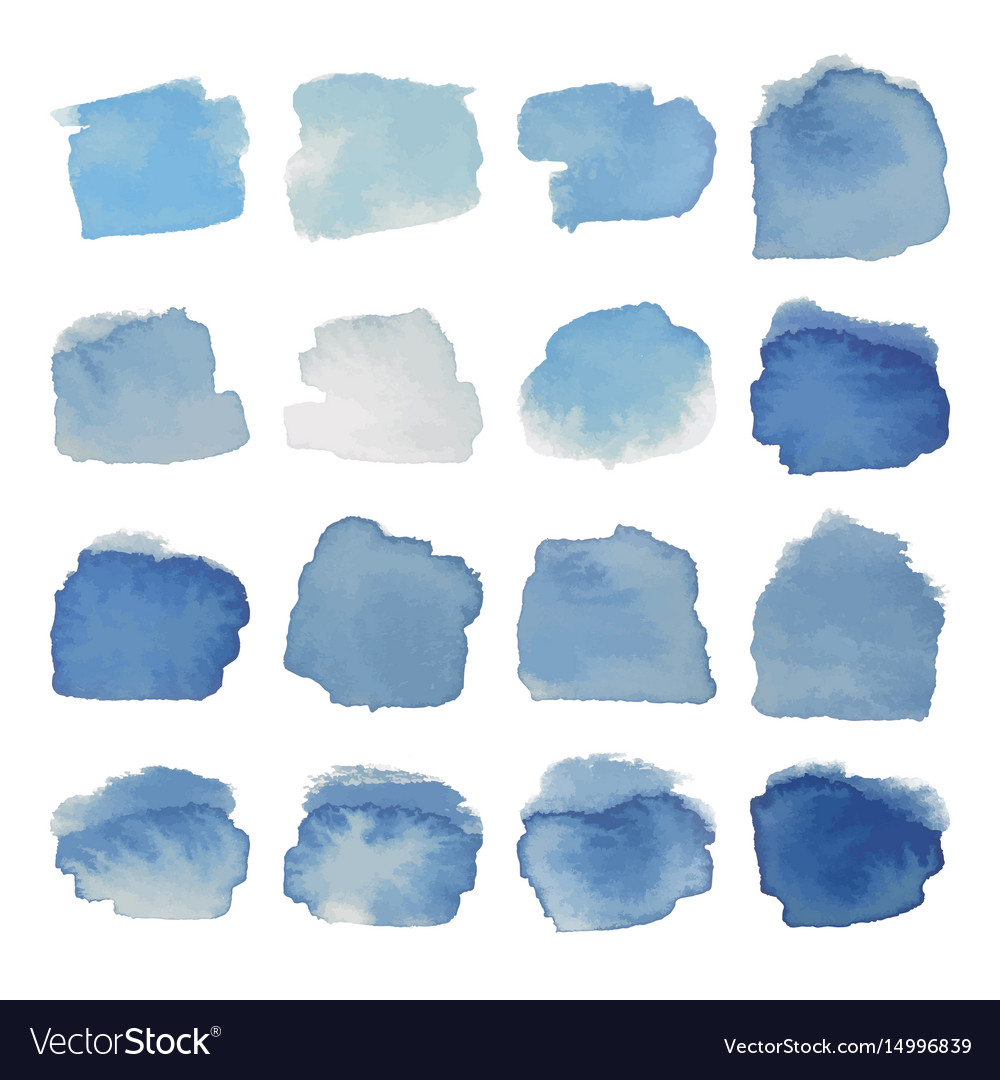 Gray-blue blots watercolor set