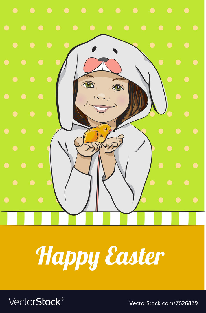 Happy Easter cartoon card with girl and chick