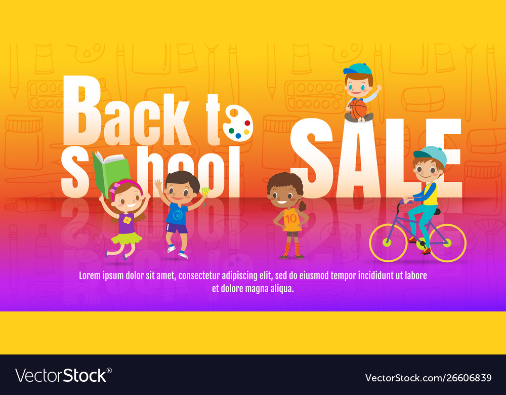 Kids back to school sale promotional children