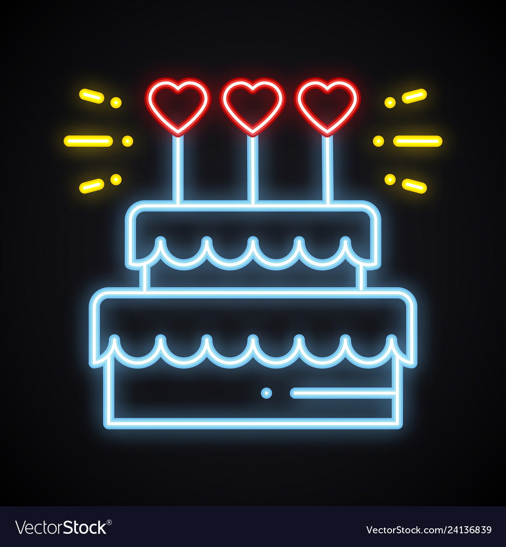 Terrific Neon Cake Sign With Heart Candles Light Sweets Vector Image Funny Birthday Cards Online Alyptdamsfinfo