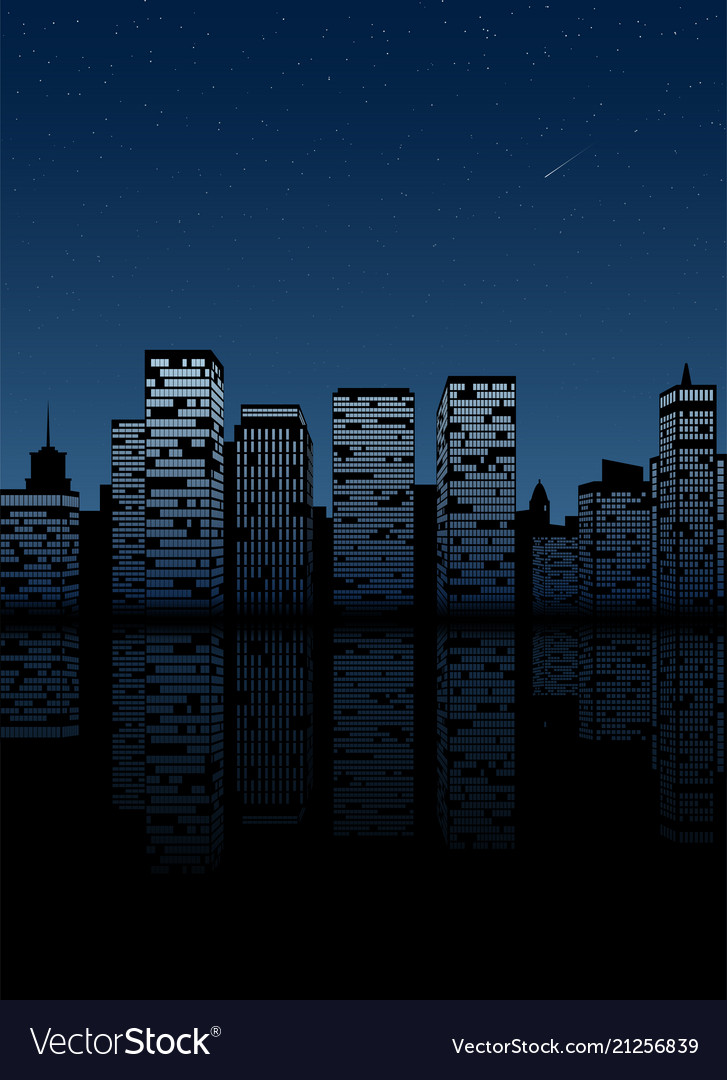 Night city skyline cityscape background