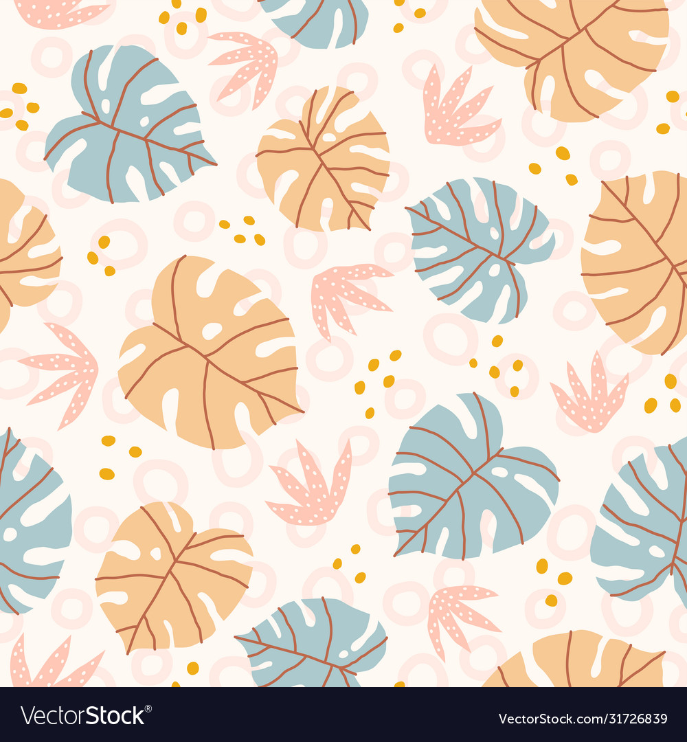 Pastel monstera leaves and plants seamless pattern