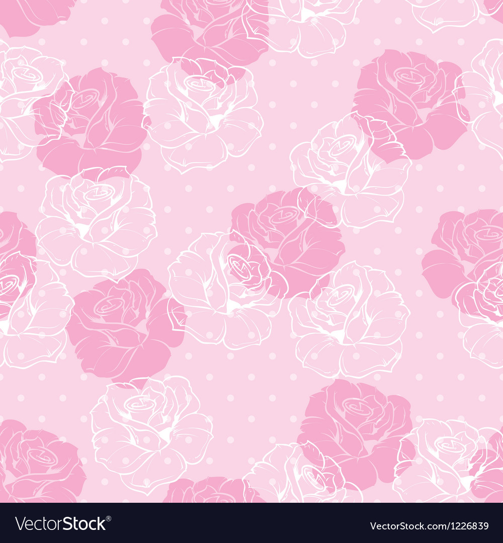 Seamless floral pink and white roses pattern