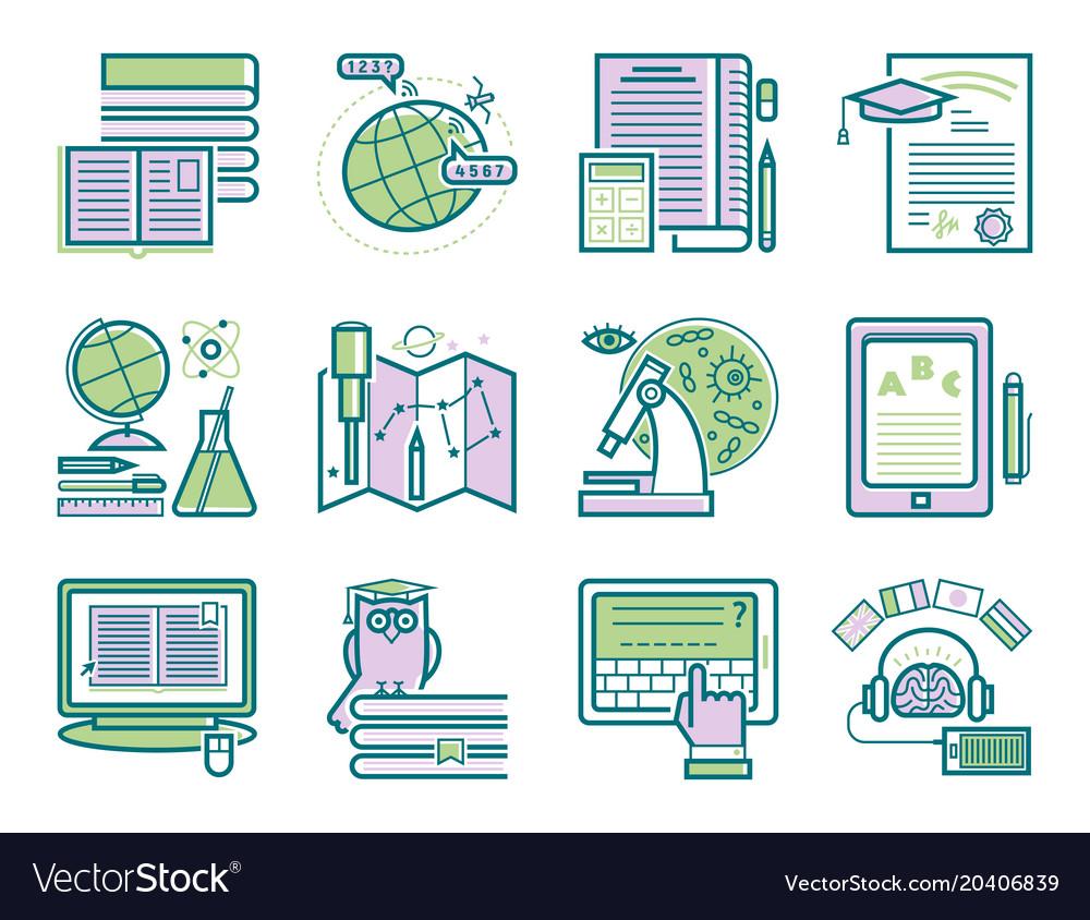 Set of flat design outline icons education
