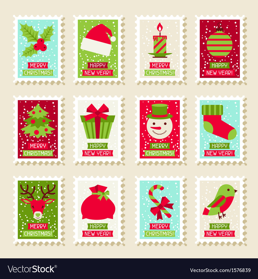 Set of postal stamps with Christmas and New Year